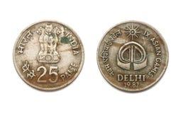 Przód i plecy 25 Paise IX gier azjatyckich moneta Zdjęcie Royalty Free