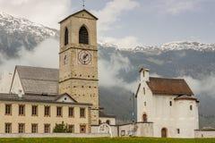 Przód kościół St. John w Mustair, UNESCO Światowy Kulturalny On zdjęcie stock