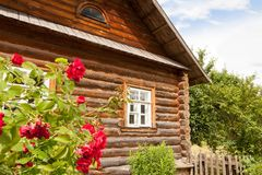 Przód lub podwórze z ogrodowymi róża kwiatami samotna wiejska kabina odwrotu bela Zdjęcia Stock