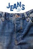 Przód niebiescy dżinsy. Zdjęcie Stock