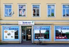 Przód pizzeria wymieniający 'Hawaje' fotografia royalty free