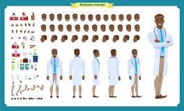Przód, strona, tylny widok animował czarnego amerykańskiego charakteru Doktorski charakteru tworzenie ustawiający z różnorodnymi  ilustracji