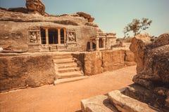 Przód 6th wiek jamy świątynia, sławna Hinduska struktura Karnataka stan, India Dziejowy andmark w Aihole miasteczku Zdjęcia Stock
