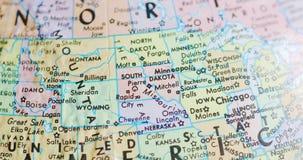 Przędzalniana kuli ziemskiej mapa Południowy Dakota usa 4K zbiory
