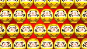 Przędzalniane Żółte Daruma lale Na Czerwonym tle ilustracja wektor