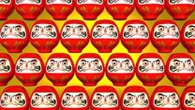Przędzalniane Czerwone Daruma lale Na Żółtym tle ilustracji