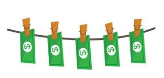 Przący dolary na linowej wektorowej ilustraci Obraz Royalty Free