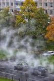 Przełom rurociąg z gorącą wodą, naprawa wodny sup Fotografia Stock