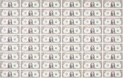 Prześcieradło Jeden Dolarowi rachunki jako tapeta Obrazy Stock