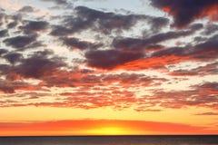 Prześwietny świt od plaży Mundaka Obraz Stock