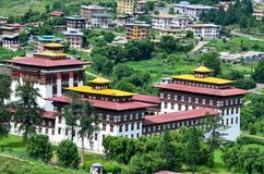 Prześwietny Thimphu Dzong od Above Obrazy Royalty Free