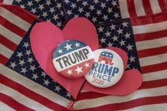 Przebija 2020 prezydenckiej kampanii odznak przeciw Zlanej Twierdzić fladze zdjęcie royalty free
