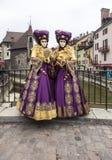 Przebrana para - Annecy Wenecki karnawał 2013 Zdjęcie Royalty Free