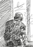 Przechodzić na emeryturę osob spojrzenia za okno wektor ilustracja wektor