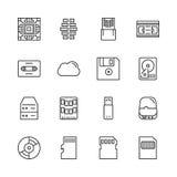 Przechowywanie danych wektoru linii ikony set Zdjęcie Stock