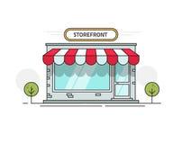 Przechuje frontowego widoku wektorową ilustrację lub robi zakupy, kreskówki linii konturu witryna sklepowa na ulicie odizolowywaj ilustracji