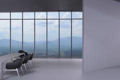 Przechyla ściennego biuro i krzesła w pokoju konferencyjnym ilustracja wektor
