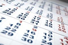 Prześcieradła ścienny kalendarz z liczbą dni Zdjęcia Stock