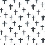 Przecinająca bezszwowa deseniowa ręka rysujący symbolu grunge chrześcijanin krzyżuje, religijne znak ikony, krucyfiksu symbolu we ilustracja wektor