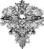 przecinająca ilustracyjna czaszka Obrazy Stock
