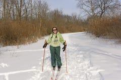 Przecinającego kraju narciarka na słonecznym dniu Zdjęcia Stock