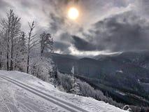 Przecinającego kraju narty ślad Zdjęcia Royalty Free