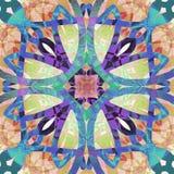 Przecinający art deco stylu mandala w tekstury powierzchni, lekcy kolory, purpury, błękit, turkus, jasnobrązowy, czerwony, różowy ilustracji
