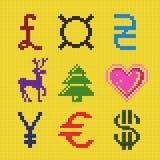 Przecinający hafciarski piksel sztuki waluty bożych narodzeń plan Obrazy Stock