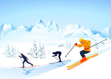 przecinający kraju narciarstwo ilustracji