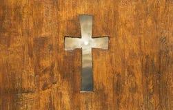 Przecinający kształt w drewnie Fotografia Royalty Free