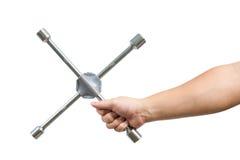 Przecinający wyrwanie w męskiej ręce odizolowywającej na bielu Zdjęcie Royalty Free
