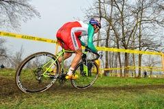 Przecinającego kraju rowerzysta Marco Fontana Obrazy Royalty Free