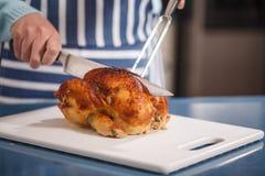 Przecinanie kurczak Zdjęcie Stock
