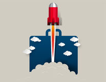 przeciw błękit dna zakończenia cztery nozzle rakietowej nieba przestrzeni Pojęcie biznesowego sukcesu ilustracja Wektorowy abstr Zdjęcia Royalty Free