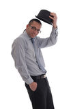 przeciw biznesowi mężczyzna odizolowywający biel Fotografia Royalty Free
