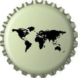 przeciw czarny butelki nakrętki mapy światowi Zdjęcie Stock