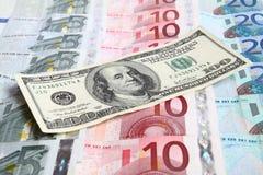 przeciw dolara euro sto pieniędzy jeden Zdjęcia Royalty Free