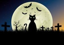 przeciw nietoperzom folującym Halloween nawiedzająca domowa księżyc bani scena Zdjęcie Royalty Free