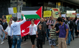 przeciw szturmowej demonstraci Israel s Zdjęcie Stock