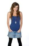 przeciw tła błękitny dziewczyny kamizelki biel Fotografia Stock