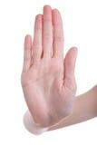 przeciw tła ręki sygnalizacyjnemu przerwy biel Obraz Stock
