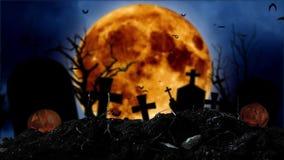 Przeciw tłu księżyc, nietoperze latają, tam są krzyże i Halloween banie ilustracja wektor