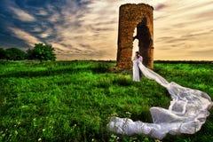 Przeciw zaniechanym ruinom ślubny strzał Zdjęcie Stock