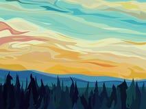 Przeciw zmierzchowi abstrakta las wektorowy iglasty. Ilustracji