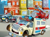 Przeciwawaryjna jednostka ilustracja dla dzieci - karetka - ilustracji