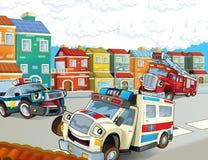 Przeciwawaryjna jednostka karetka, firetruck i policja -, royalty ilustracja