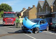 Przeciwawaryjna wypadek samochodowy scena Fotografia Stock