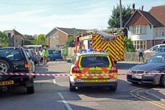 Przeciwawaryjna wypadek samochodowy scena Obraz Stock