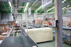 Przeciwawaryjnej przerwy guzik na linii produkcyjnej Obrazy Stock