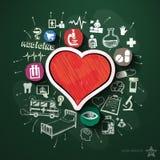 Przeciwawaryjny kolaż z ikonami na blackboard Obraz Stock